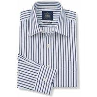 White Navy Stripe Classic Fit Shirt - Single Cuff 15