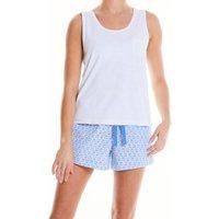 Women's Blue White Flower Print Lounge Shorts 10