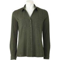 Women's Khaki Cotton Jersey Semi-Fitted Shirt 12