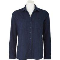 Women's Navy Cotton Jersey Semi-Fitted Shirt 14