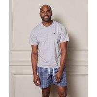Navy Blue White Checked Cotton Lounge Shorts XXL