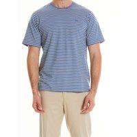 Blue Cream Striped Cotton Jersey Crew Neck T-Shirt L