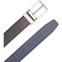 Navy Black Leather Reversible Belt 34