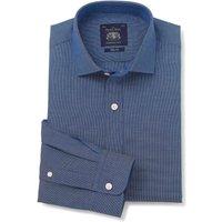 Navy Dobby Slim Fit Cutaway Collar Shirt - Single Cuff 16 1/2