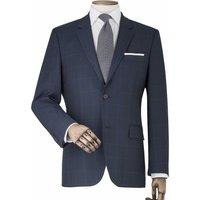 Navy Fine Windowpane Check Tailored Suit Jacket 46 Short.