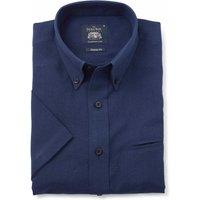 Navy Linen-Blend Classic Fit Short Sleeve Shirt M