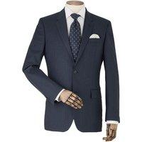 Navy Stripe Wool Suit Jacket 46 Regular.