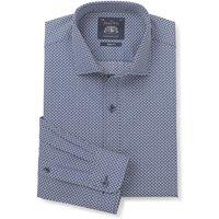 "Navy White Flower Print Slim Fit Shirt - Single Cuff 15"" Standard"