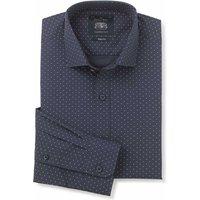 Navy White Spot Print Slim Fit Shirt - Single Cuff 17