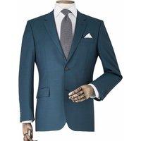 Petrol Blue Wool-Blend Tailored Suit Jacket 40