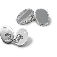 Sterling Silver Oval Chain Cufflinks.