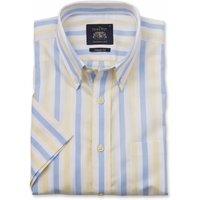 White Blue Yellow Stripe Herringbone Classic Fit Short Sleeve Shirt S