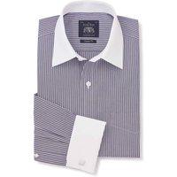 Dark Navy White Stripe Cotton Poplin Classic Fit Shirt - Double White Cuff & White Collar 15