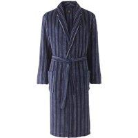 Blue Navy White Stripe Super Soft Dressing Gown L