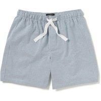 Grey Striped Oxford Cotton Lounge Shorts XL
