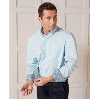 Aqua Blue Fine Twill Button-Down Casual Shirt L Standard