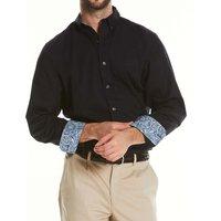 Black Fine Twill Button-Down Casual Shirt M Standard