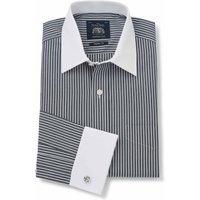 Black White Stripe Classic Fit Shirt With White Collar & Cuffs - Double Cuff 17 1/2
