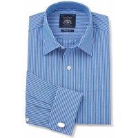 Blue Reverse Stripe Classic Fit Shirt - Double Cuff 20