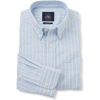 "Blue Yellow Stripe Classic Fit Casual Button-Down Shirt XXXL Lengthen by 2"""