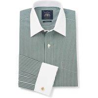 Dark Green Reverse Stripe Classic Fit Shirt With White Collar & Cuffs 19