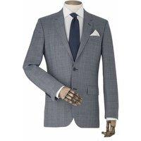 Grey Windowpane Check Tailored Suit Jacket 44