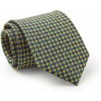 Navy Yellow Link & Lock Print Silk Tie