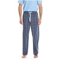 Navy Blue White Checked Cotton Lounge Pants XL