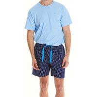 Navy White Blue Spot Print Lounge Shorts L