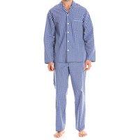 Navy White Sky Blue Checked Cotton Pyjamas S