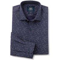 Navy White Patterned Slim Fit Shirt - Single Cuff 17 1/2
