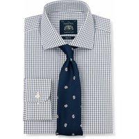 Navy White Poplin Graph Check Slim Fit Shirt - Single Cuff 17