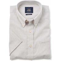 Stone Grey Linen-Blend Classic Fit Short Sleeve Shirt M