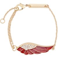sl00658 Fashion Bijoux Wholesale Free Shipping Charm Handmade Gold Plated Crystal Rhinestone Red Enamel Plumage Wing Bracelet