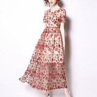 2019 Europe New fashion summer round neck short sleeves zippered red A line women high-end embroidered lace casual dress