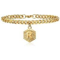 Women Accessories Cuban Link Adjustable Bracelet Anklet Gold Plated Initial Charm Letter Anklet