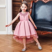 European style  Long tail  Wedding gown    kid party dress for birthday       girl evening gown for 10 years old