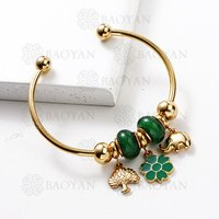 BAOYAN Gold Plated Stainless Steel Cuff Enamel Flower Charm Bangle Bracelet