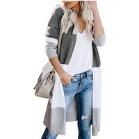 New Spring Autumn Outwear Coat Fashion Colorblock Casual Long Cardigan for Women