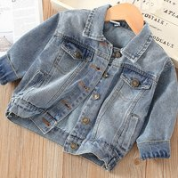 New Fashion Girls Autumn Cotton Solid Grey Colour washed denim jacket for 2-7 years
