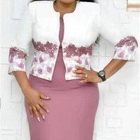 Wholesale big size women dress plus size two piece short sleeve midi dress and jacket set