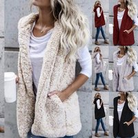 2019 Plus Size Womens Fashion and Warm Faux Fur Vest Jacket and Coat Hooded Teddy Coat Long Cashmere Vest With Pocket Quality