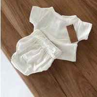 newborn linen baby clothes boys t shirt solid casual summer white  kids linen tops children clothing wholesale lots ready made