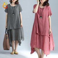 2019 new cotton linen dress solid color long skirt O neck comfortable loose large size bottoming dress