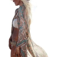 Open Front Kimono Cardigan Swimsuit Cover Up Beachwear Swimwear Kaftan