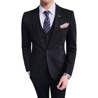Gentlemen British Slim Fit Suit Mens Fashion 3-Piece Business Blazer Jacket Vest Trouser Suits Set for Men