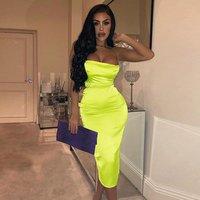 wholesale prom fashion hot sale party spaghetti strap neon silk club dress