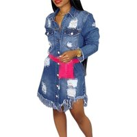 Cheap clothes wholesale women long sleeve long line jeans coat demin jackets