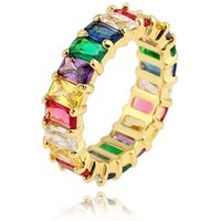 Gold party ring popular design rainbow cz ring for women