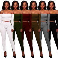 6 Colors Wholesale High-Elastic Crop Top Thread Trousers Two-Piece Set In Stock